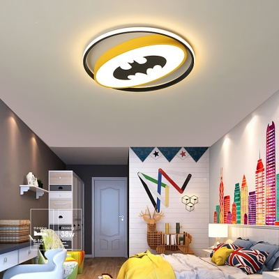Bat/Spider Kid Bedroom Ceiling Light Acrylic Creative LED Flush Mount Light in Warm/White