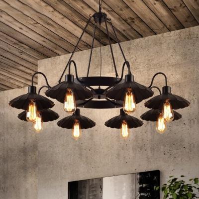 Black Scalloped Edge Pendant Lamp 8 Lights Industrial Bare Bulb Chandelier for Dining Room