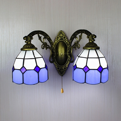 Blue Dome Wall Sconce with Pull Chain 2 Lights Tiffany Style Glass Wall Light for Bedroom
