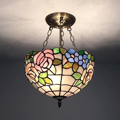 Bowl Shade Ceiling Light With Rose