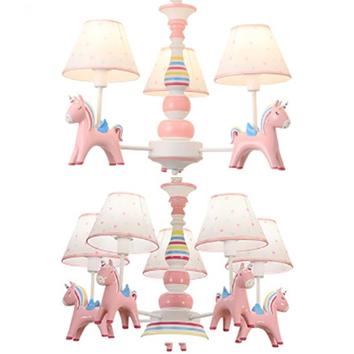 Child Bedroom Tapered Shade Pendant Light With Unicorn Resin 3 5 Lights Lovely Pink Chandelier Beautifulhalo Com