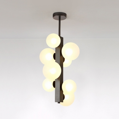 Clear/Cream Glass Orb Pendant Light 4/8 Lights Nordic Stylish Suspension Light in Black for Kitchen