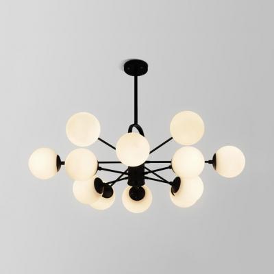 Contemporary Bubble Pendant Light Opal Glass 8/12 Lights Black Chandelier for Cloth Shop Store