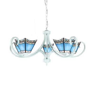 Craftsman Cafe Restaurant Chandelier Glass 5/6/8 Lights Mediterranean Style Suspension Light in Blue