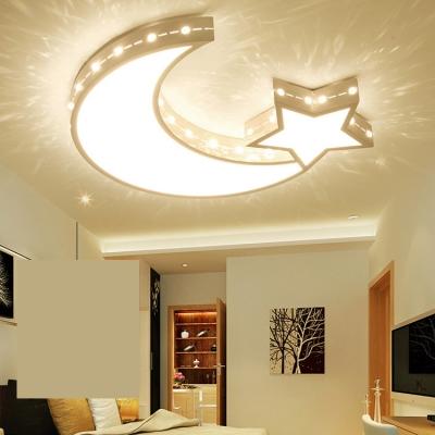 Creative LED Ceiling Light Etched Moon Star Stepless Dimming/Third Gear/White Lighting Flush Light for Kindergarten