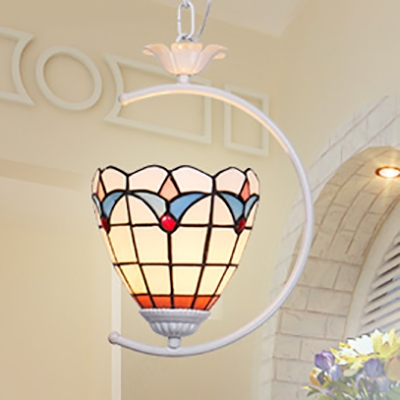 Domed Living Room Hanging Light Stained Glass 1 Light Tiffany Modern Ceiling Lamp with 3 Modes Choice