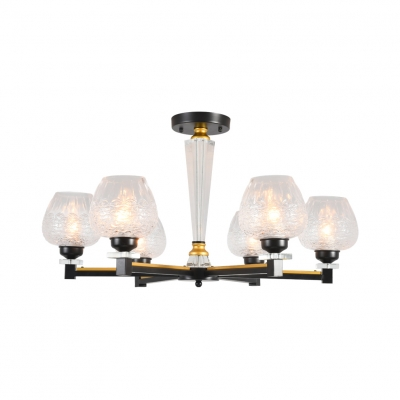 Etched Glass Bud Shade Ceiling Light Bathroom 3/6 Lights American Style Semi Flush Mount Light in Black