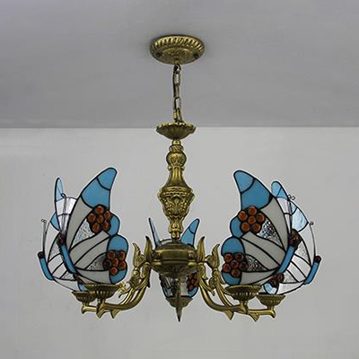 Glass Butterfly Pendant Light 5 Lights Tiffany Style Rustic Blue/Colorful/Red/White Chandelier