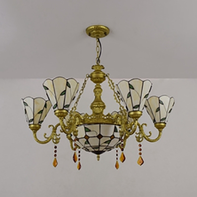 Glass Dome Pendant Light with Crystal 7 Lights Tiffany Style Chandelier in Blue/Yellow for Restaurant