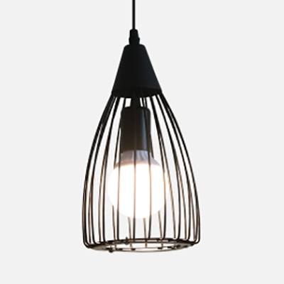 Купить со скидкой 1 Bulb Teardrop Cage Pendant Lighting Industrial-Style Black Finish Metal Hanging Ceiling Lamp