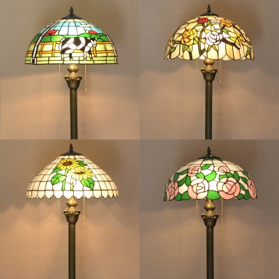 Hotel Cow/Flower Floor Lamp Stained Glass One Light Tiffany Rustic Floor Lamp with Pull Chain