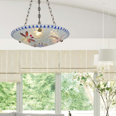 Living Room Bowl Pendant Light Stained Glass 16 Inch Tiffany Style Inverted Chandelier