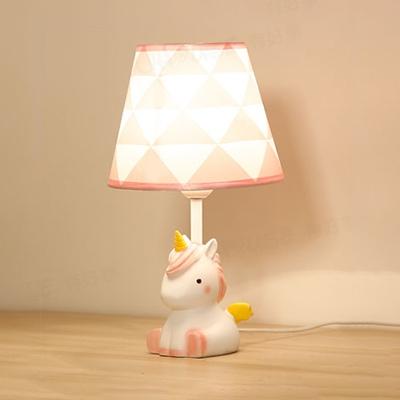 Lovely Pink Table Light Tapered Shade 1 Light Resin Reading Light with Unicorn for Girl Bedroom
