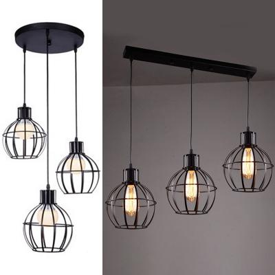 Metal Melon Cage Pendant Lamp 3 Lights