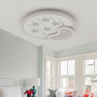Metal Meteor Flushmount Light Lovely White LED Ceiling Lamp in Warm/White for Child Bedroom