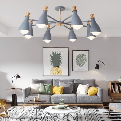 Metal Wine Bottle Pendant Light Dining Table 6/8 Lights Macaron Loft Chandelier in Gray/White