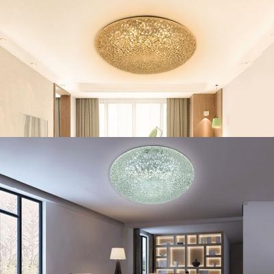 Modern Bowl Shade Flush Mount Light 24W Glass Ceiling Light in Warm Yellow/Bright Light/2 Mode Lighting