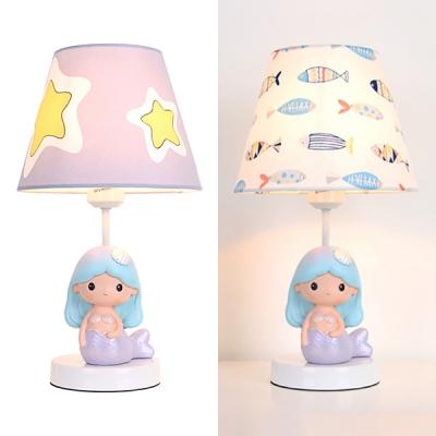 Modern Little Mermaid Desk Lamp with Fish/Star 1 Light Fabric Reading Light for Kid Bedroom