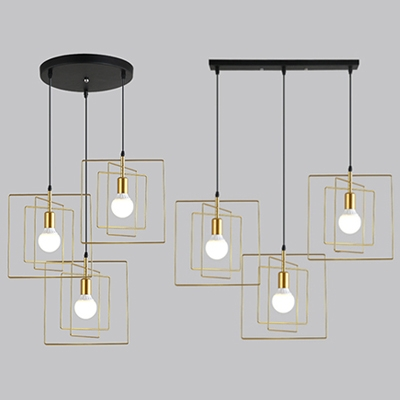. Modern Wire Frame Pendant Lamp 3 Lights Metal Linear Round Canopy