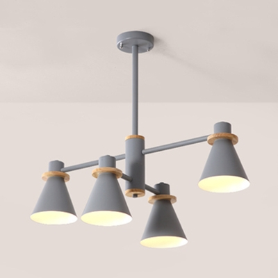 Nordic Gray/Green/White Chandelier Funnel Shade 4/6/8 Lights Acrylic Hanging Light for Study Room