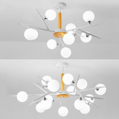 Nordic Style Branch Chandelier with Globe Shade 9/15 Lights Wood Pendant Light in White for Restaurant