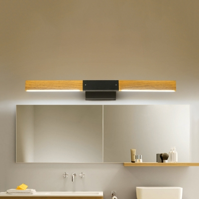 Nordic Style Waterproof Wall Light Linear Wood White Lighting LED Vanity Light for Dressing Room