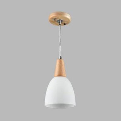 Nordic Style White Pendant Light Domed Shade 1/2/3 Lights Wood Ceiling Pendant for Restaurant