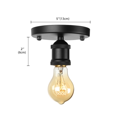 Open Bulb Single Flushmount Ceiling Light in Black for Hallway Kitchen Foyer