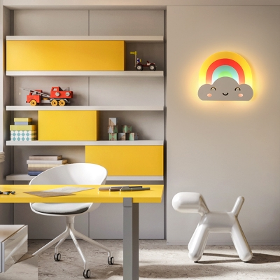 Rainbow Cloud Wall Light Acrylic Lovely Colorful Sconce Light in White/Warm for Kindergarten