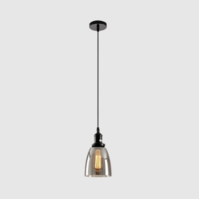 Smokey Gray Glass Bowl/Cone Pendant Light Kitchen One Light Industrial Stylish Ceiling Lamp