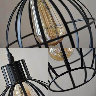 Spherical Wire Frame Restaurant Pendant Lamp Metal 1 Light Industrial Stylish Hanging Light in Black