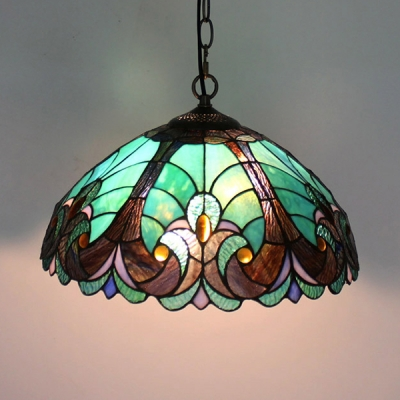Stained Glass Umbrella Pendant Light 1 Light Tiffany 3 Designs Optional Hanging Light for Villa