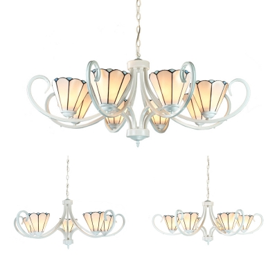 White Cone Suspension Light 5/6/8 Lights Tiffany Style Glass Metal Chandelier for Living Room