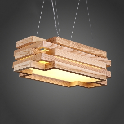 Wood 5-Tier Rectangle Chandelier Cloth Shop Nordic Style Beige Pendant Light with Warm/White Lighting