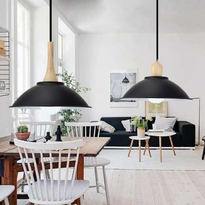 1 Light Bowl Hanging Light Antique Style Aluminum Pendant Lamp in Black for Dining Room
