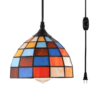 1 Light Grid Bowl Hanging Light Tiffany Style Stained Glass Ceiling Pendant with Plug In Cord for Stair