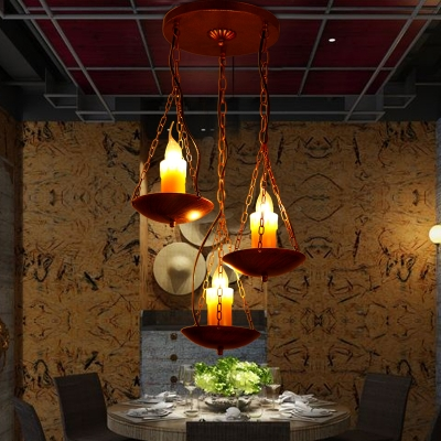 3 Lights Candle Hanging Lamp Industrial Metal Pendant Light with Chain in Rust for Cafe Restaurant