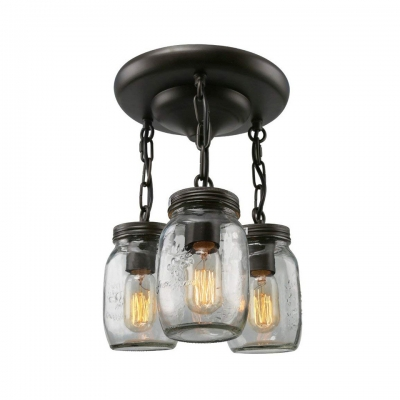 Dimple Glass Jar Ceiling Light 3 Lights Retro Loft Hanging Light in Black for Dining Table