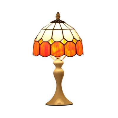 Tiffany Grid Dome Desk Light 1 Light Art Glass Blue/Orange Table Light with White/Brown Body for Bedroom