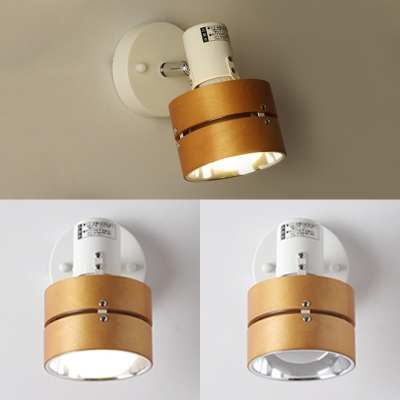 Metal Wood Round Wall Light Rotatable One Head Japanese Style Wall Sconce in Beige for Study Room