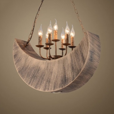 7 Lights Candle Pendant Light with Moon Decoration Antique Metal Hanging Light in Aged Brass for Bar, HL532970