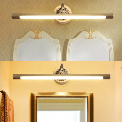 Anti-fogging Tube Engraved LED Vanity Light Antique Acrylic Wall Light in Brass for Dress Table