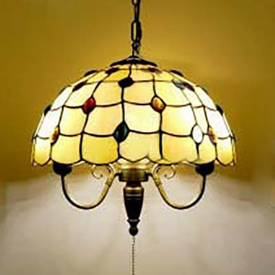 Antique Multi-Color Beads Pendant Light Scalloped Shade Glass Metal Hanging Light in Beige for Foyer