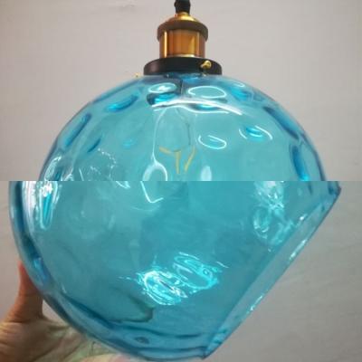 Bedroom Foyer Sphere Pendant Lamp Dimple Glass 1 Light Modern Stylish Blue Hanging Light