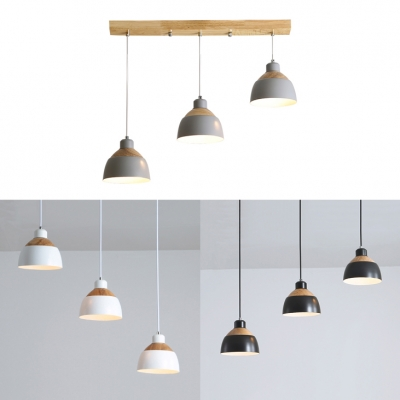 Black/Gray/White Bowl Pendant Light 3 Lights Nordic Style Wood & Metal Island Lamp for Hotel