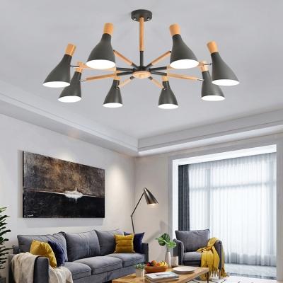 Bottle Brown/Gray/Green Chandelier 5/6/8 Lights Macaron Glass LED Suspension Light for Living Room