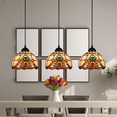 Bowl Shade Restaurant Pendant Light Stained Glass 3 Lights Tiffany Victorian Style Ceiling Light in Blue/Yellow