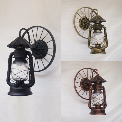Cafe Kerosene Sconce Light with Wheel Glass 1 Light Vintage Wall Lamp in Antique Copper/Black/Heritage Brass