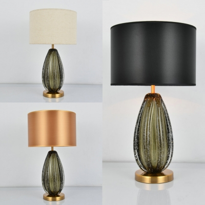 Classic Beige/Black/Gold Desk Light Melon Shape Single Light Glass Table Light for Hotel