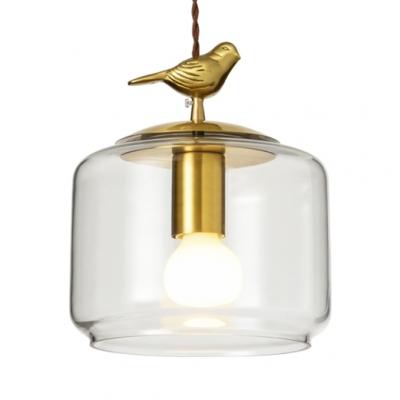 Clear Gl Jar Pendant Lamp With Bird Decoration 1 Light Rustic